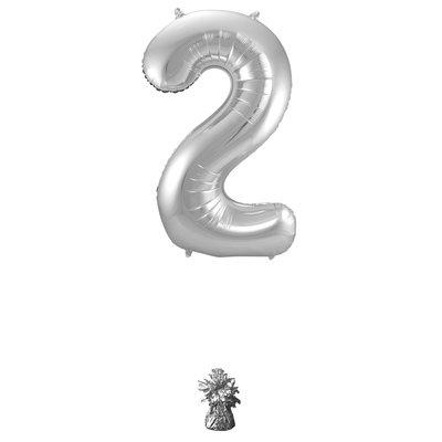 Folieballon cijfer 2 zilver 63172.