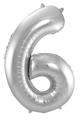 Folieballon cijfer 6 zilver 63176.