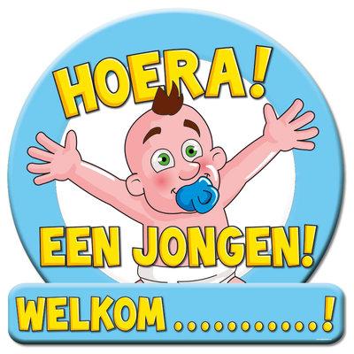 Huldeschild Hoera een jongen 08971.